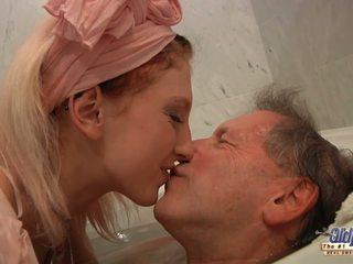 Teen blonde housekeeper fucks with elder man after bathing.