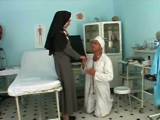 Randy blonde nun with sexy stockings getting boned by doc