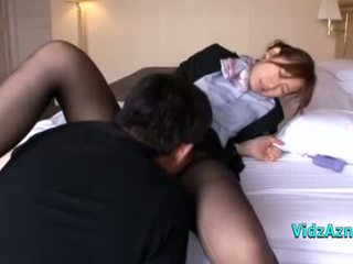 Housekeeper Getting Her Hairy Pussy Licked Fingered Sucking Guest Cock On The Bed In The Hotel Roo