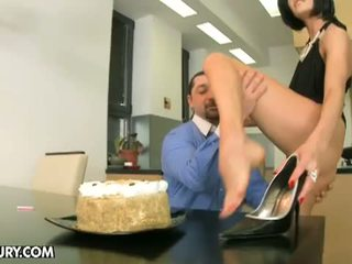 Footsie Babes: Extreme birthday gift from lustful brunette