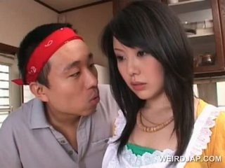 Asian Housekeeper Gets Sexy Assets Teased By Horny Guy