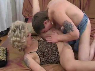 Horny blonde milf sucks and fucks young guy
