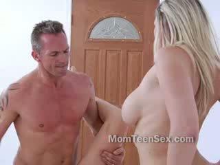 Older couple seduce chick for threeway sex