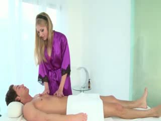 Hot masseuse sucks clients cock