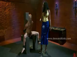 Black dirty mistress teaching man sex slave how to bondage in extreme sado maso