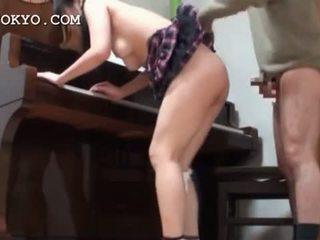 เอเชีย เด็กนักเรียนหญิง หี banged ยาก ทั่ว the เปียโน