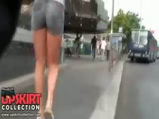 Blonde In Hot Girls Denim Shorts Was Easily Spied On The