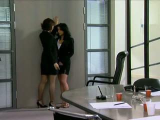 en ligne jupe agréable, bureau, réel lesbienne