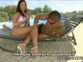 Larissa Dee giving footjob and fucking big black cock sex