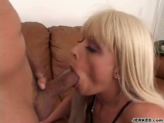 Breasty Babe Layla Jade Kneels Down And Munch A Large Hard Cock