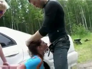 Teen fucked hard outdoor by two guys Video