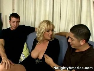 Busty British blonde mom catches Alex staring at her boobs