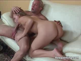 Deepthroat action with big cock going