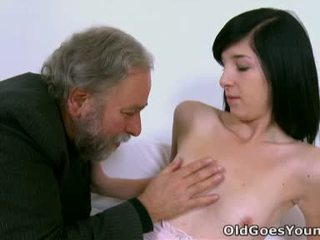 Aged Man Pulls Innocent Babe's Thongs To 1 Side And Licks That Chabr Pussy!