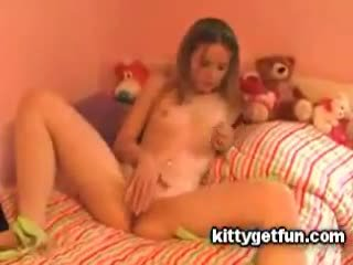 Kitty Get Fun: Cute teen masturbates in this free tube video