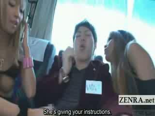 Subtitled tan japanese gyaru bj to virgin on bus