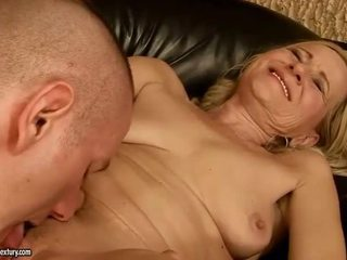 Hot granny sucking and riding young dick