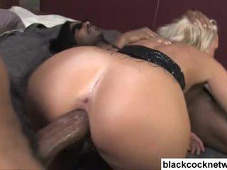 Stunning blonde babe worships two huge black cocks Video