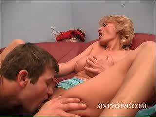 blondie MILF sucks and fucks doll penis