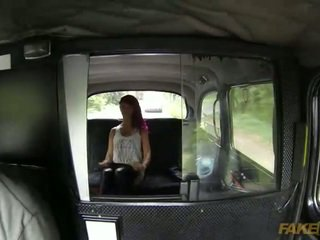 Amateur squirts on the backseat of taxi