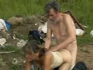 Horny homeless groupsex drilling girl in doggie