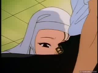 Slutty hentai apáca bends vége és takes azt -től mögött