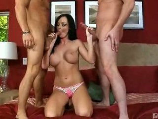 Melissa Lauren gets all her holes fucked. Double facial