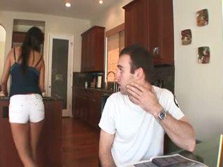 Sexy bruna messicano bambola con un pelosa muff takes un difficile anale cazzo