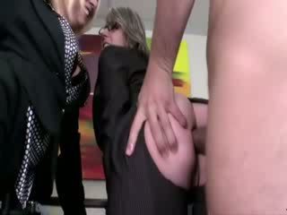 Hot milf dolls getting anally fucked by two lucky guys