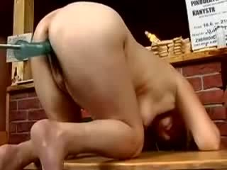 Chubby german mature fucked by the machine in cunt and ass