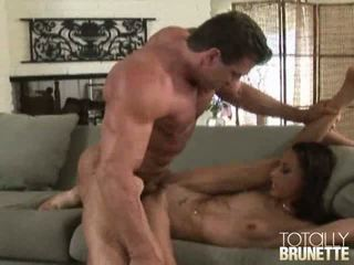 Slim Brunette Bitch Layla Rivera Gets Shaved Muff Nailed Hard On The Couch