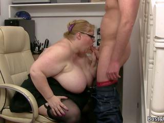 Plump Massive Boobs Secretary Rides Boss Cock: Free Porn 23