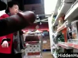 Flashing A Mature Korean Woman At A Store