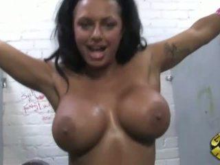 Kerry Louise taking a big black gloryhole cock