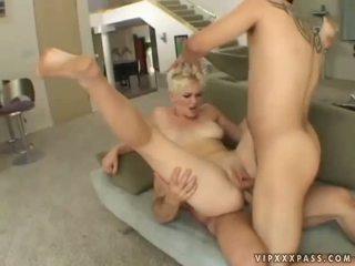 Two guys fucking blond slut