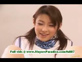 uniforme, handjob, asiático