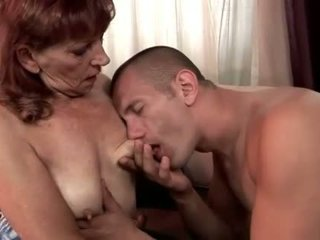 Young man fucking hairy redheaded granny