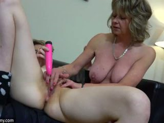 OldNanny sexy mom with ten masturbate on bed