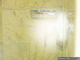 Filthy hottie Brandi Belle intrudes her boyfriend in the shower for a blowjob