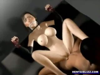 Bondage hentai with a muzzle gets hard poked