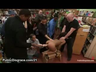 Black babe ass and twat fucked in public