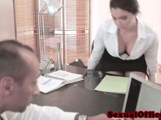 Busty office secretary riding hard cock