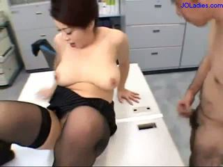 Busty Office Lady In Skirt And Pantyhose Fingering Herself On The Desk While Guy Jerking His Cock Dominating Guy Getting Her Legs Licked In The Office
