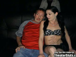 Pale Petite Anal Whore Gang Fucked in Porno Theater...