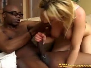 Big Boobs Sexy Blonde Sucking and Fucking Black Monster