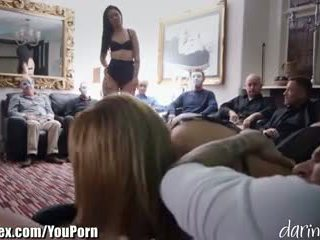 British MILF Fucked in Front of a Room of Masked Men