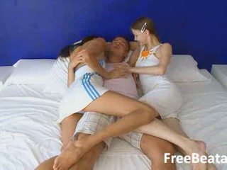 Russian teen threesome with unique chicks