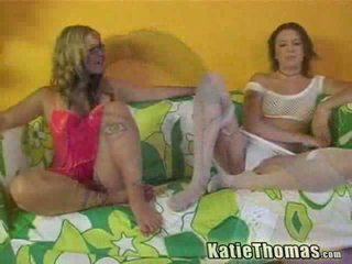 Blonde and brunette girls having interracial Three