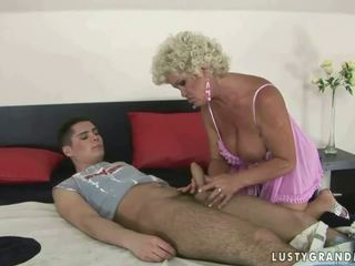 Boy fucks busty granny