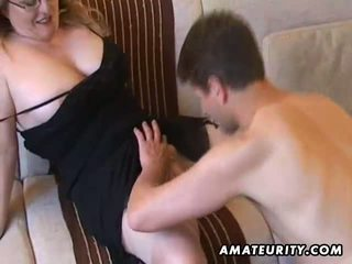 Busty amateur Milf suck and fuck with cum on tits
